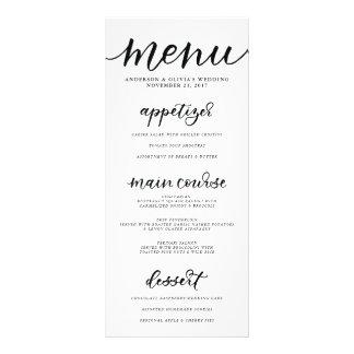 Carte de menu de calligraphie doubles cartes