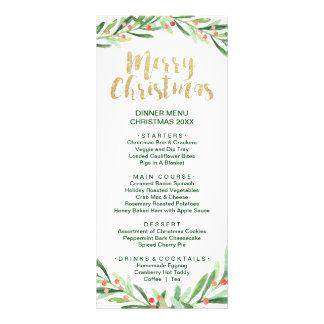 Carte de menu de dîner de Joyeux Noël de guirlande