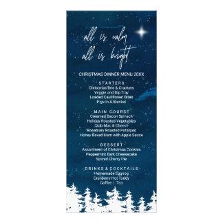 Carte de menu de dîner de Noël de nuit étoilée