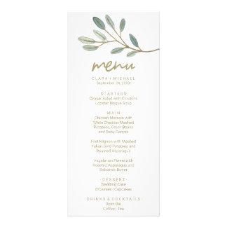 Carte de menu de dîner d'eucalyptus veinée par or