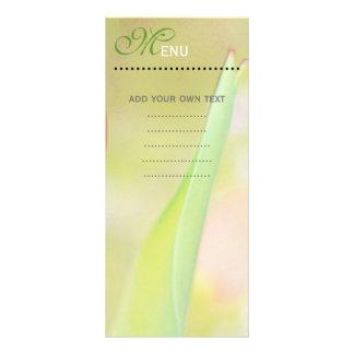 Carte de menu de dîner, feuille verte molle
