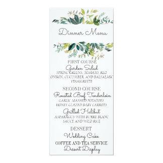 Carte de menu de mariage de bouquet de verdure carton d'invitation  10,16 cm x 23,49 cm