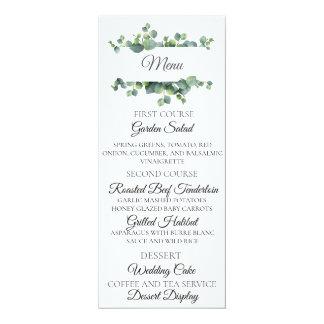 Carte de menu de mariage de bouquet d'eucalyptus