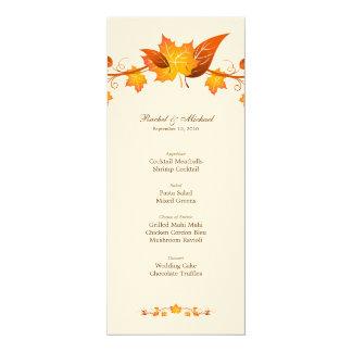 Carte de menu de mariage de feuillage d'automne carton d'invitation  10,16 cm x 23,49 cm
