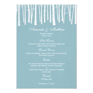 Carte de menu de mariage de forêt d'hiver cartons d'invitation