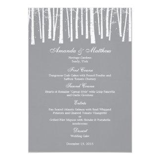 Carte de menu de mariage de forêt d'hiver faire-part personnalisé