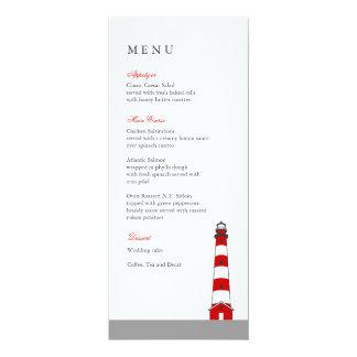 Carte de menu de mariage de phare carton d'invitation  10,16 cm x 23,49 cm
