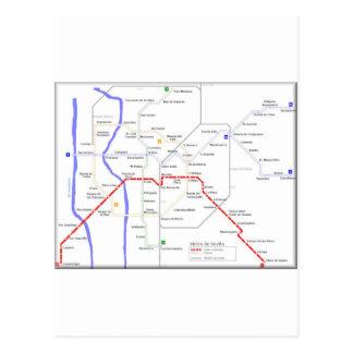 Carte de métro de Séville Carte Postale