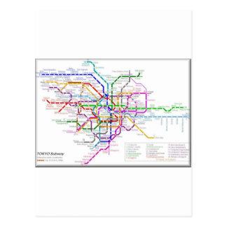 Carte de métro de Tokyo Carte Postale