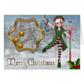 Carte de modèle de Sadie Elf de Joyeux Noël