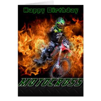 Carte de motocross de joyeux anniversaire