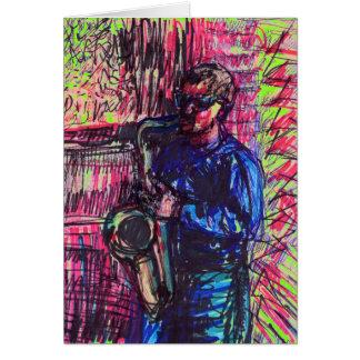 Carte de musicien de saxo de jazz