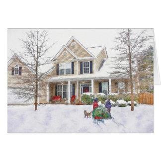 Carte de Noël 1 apportant à la maison l'arbre