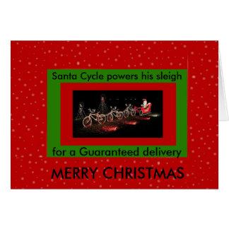 Carte de Noël actionnée par bicyclette de traîneau
