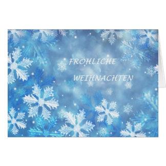 Carte de Noël allemande avec des flocons de neige