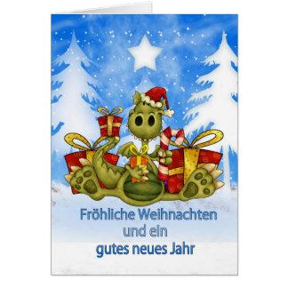Carte de Noël allemande - dragon mignon -