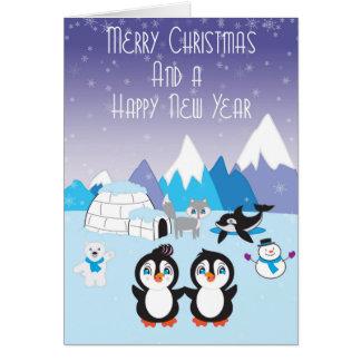 Carte de Noël arctique d'amis de pingouin