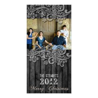 Carte de Noël argentée en bois noire de photo de