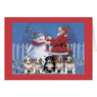 Carte de Noël australienne de berger Père Noël et