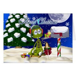 Carte de Noël avec l'alien à une boîte aux lettres