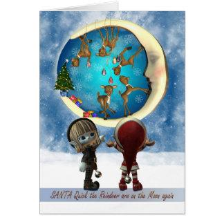 Carte de Noël avec le renne vilain et l'Elf