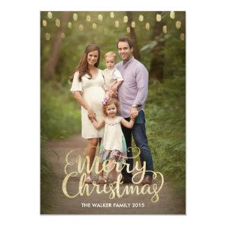 Carte de Noël avec l'effet de feuille d'or Carton D'invitation 12,7 Cm X 17,78 Cm