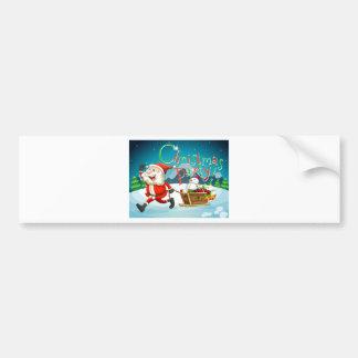 Carte de Noël avec Père Noël et des présents Autocollant De Voiture