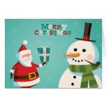 Carte de Noël avec Père Noël et le bonhomme de nei