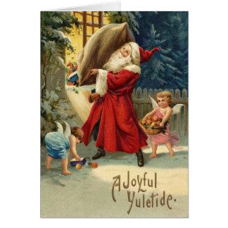 Carte de Noël avec Père Noël vintage et des anges