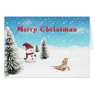 Carte de Noël barbue de dragon