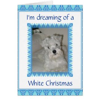 Carte de Noël blanc de Schnauzer