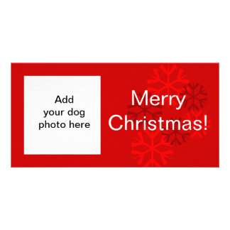 Carte de Noël blanc rouge de flocon de neige de ph Modèle Pour Photocarte