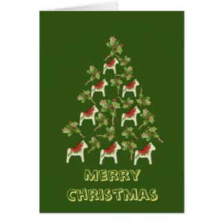 Carte de Noël blanche de cheval de Dala