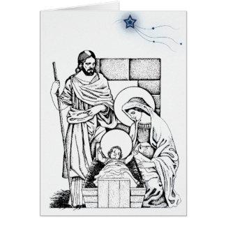 Carte de Noël bleue et blanche allemande de
