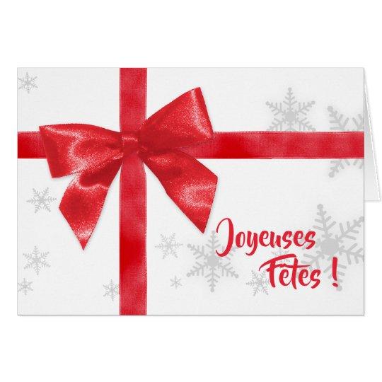 Carte de Noël cadeau ruban rouge