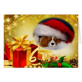 Carte de Noël cavalière d'épagneul du Roi Charles