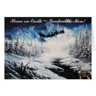 Carte de Noël, cerfs communs et vol du père noël