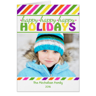 Carte de Noël colorée de rayures LUMINEUSES