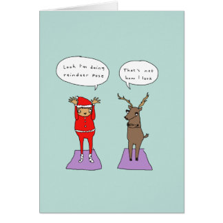Carte de Noël comique de yoga drôle de la pose |