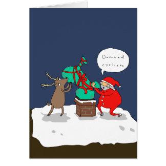 Carte de Noël comique drôle des cyclistes | de