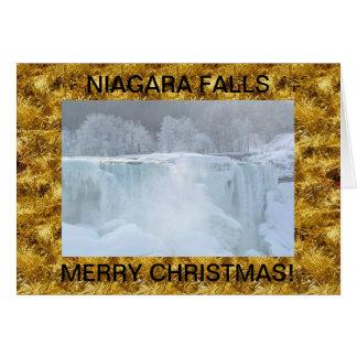 Carte de Noël congelée par chutes du Niagara