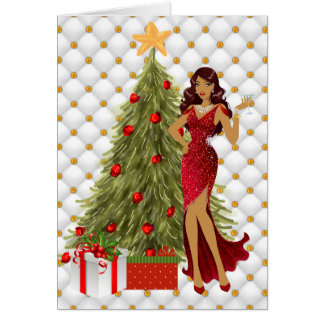 Carte de Noël d'Afro-américain avec beau
