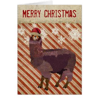 Carte de Noël d'alpaga d'améthyste
