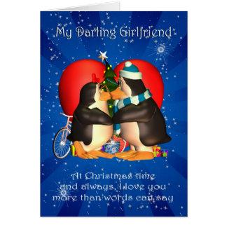 Carte de Noël d'amie avec embrasser des pingouins