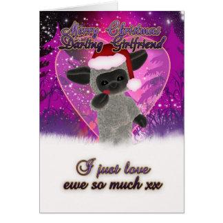 Carte de Noël d'amie - moutons et coeur mignons