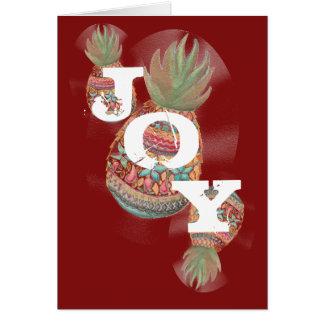 Carte de Noël d'ananas de JOIE rouge foncé