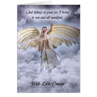 Carte de Noël d'ange de cousin religieuse