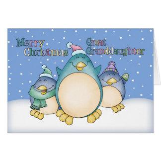 Carte de Noël d'arrière-petite-fille avec des