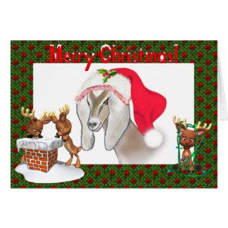 Carte de Noël d'art de chèvre de Nubian