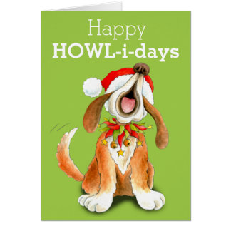 Carte de Noël d'art de chien de chant de hymne de